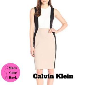Calvin Klein Tri-Color Sleaveless Sheath Dress
